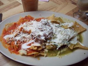 chilaquiles with red and green salsa