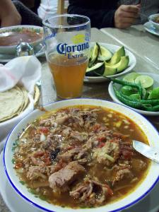 Perfect morning-after food: Birria and (for the strong willed) beer.
